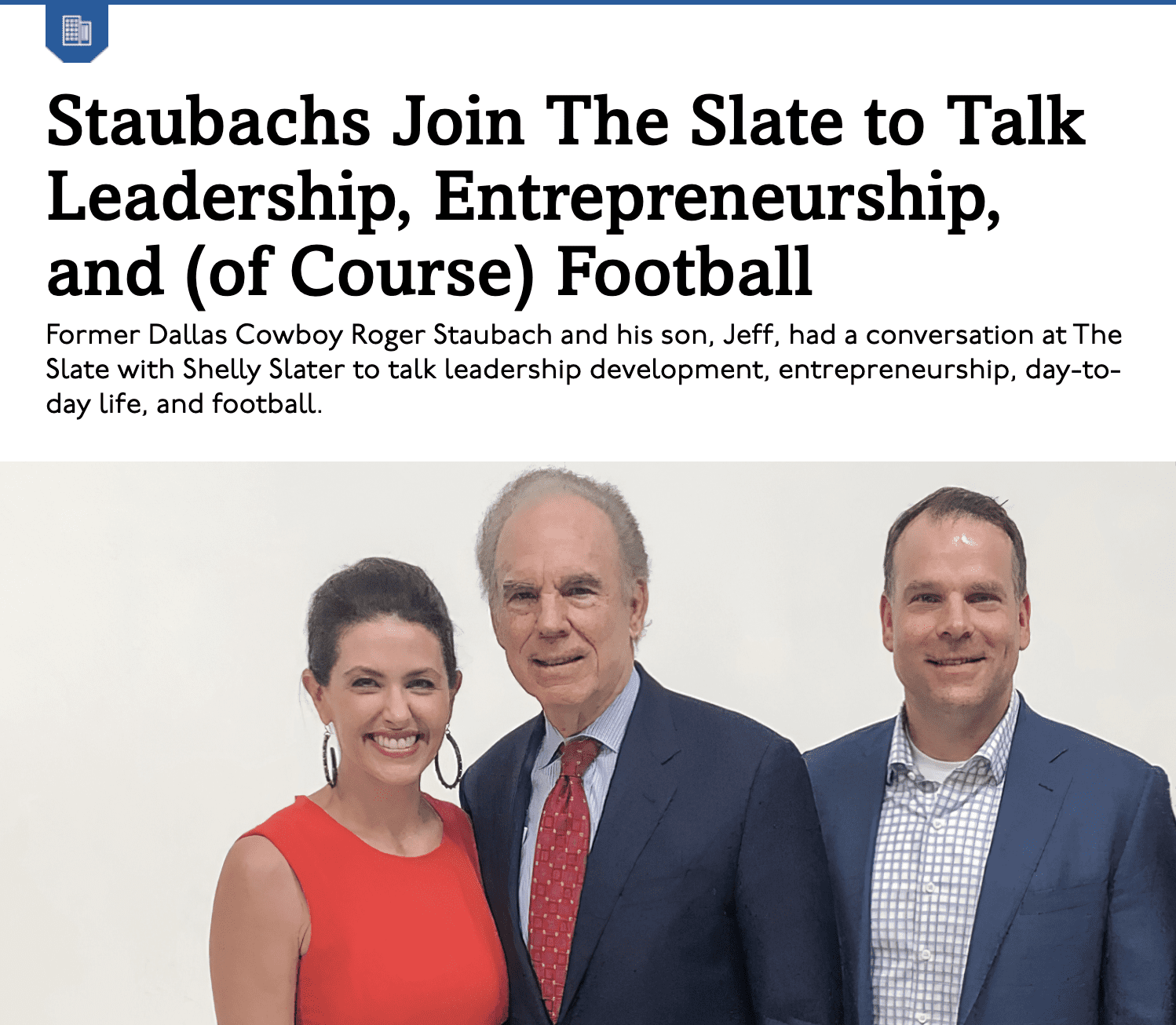 Staubachs Join The Slate to Talk Leadership, Entrepreneurship, and (of Course) Football | D Innovates